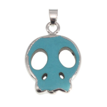 Silver Turquoise Skull Head Pendant