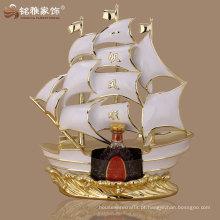 casa de leitura ornamento material polyresin estátua de barco à vela para presente de negócios