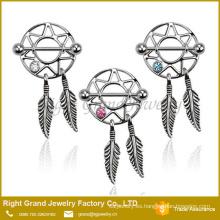 Venta caliente de acero inoxidable Dream Catcher gema CZ anillo pezones
