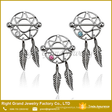 Hot Selling Stainless Steel Dream Catcher CZ Gem Nipple Ring Shield
