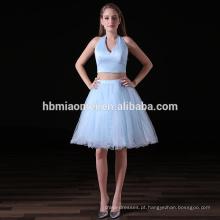 Moda verão vestido 2017 elegante 2 pcs set v profundo pescoço luz azul barato vestidos de dama de honra para o casamento