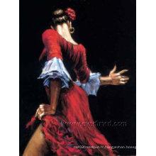 Peinture à l'huile de peinture à la main moderne artisanale à la main Femme espagnole Reproduction de danse de tango flamenco (FI-011)