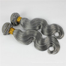 colored brazilian human gray hair weave