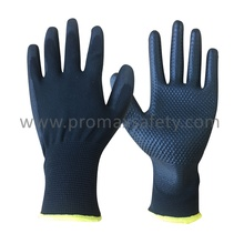 Black Polyester Liner Black PU and Dots on Palm Work Gloves