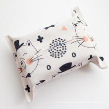 Small logo printed cute linen tissue box