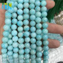 Jewelry Gemstones Semi Precious Beads 8mm Natural Smooth Round Gemstone Type Amazonite