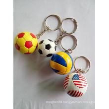 Ball Shape Soft PVC Key Chain Ball Keyring Rubber Keychain
