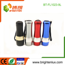 Factory Hot Sale 3*aaa Dry Battery Powered Colorful Emergency Cheap 9 led Aluminum led Flashlight Torch