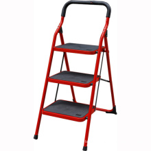 stainless steel matial folding household ladder, folding steel stair, household step ladder with safety handrail