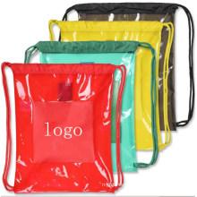 Clear Transparent TPU PVC Gym Sack Drawstring Bag Backpack