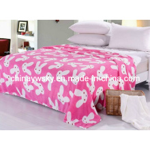 Beautiful Printed Coral Fleece Blanket Rabbit Design