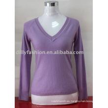 Suéter hecho punto 2017 del suéter hecho punto del cuello de la cachemira profunda de las mujeres profundas