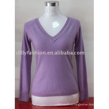 2017 женщин глубокий V шеи вязаный пуловер свитер кашемир высокое качество