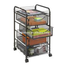 Panier de stockage de cuisine de chariot de chariot de roulement de maille en métal de 4 rangées sur des roues
