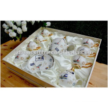 new year porcelain bone china coffee tea set polyfoam silk christmas decor gift box