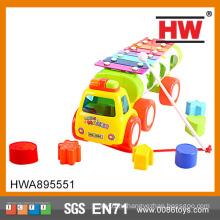 Высококачественный 27см пластиковый детский автомобиль в форме ксилофона с блоком