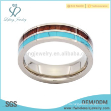 Bastante bonito turquesa y grano de madera anillos de titanio anillos