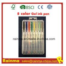 Caneta de tinta gel de 8 cores em caixa PP