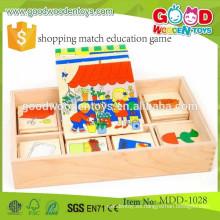 La mayoría de los niños populares juguetes de compras coinciden con juego de educación OEM de madera de los niños juguetes MDD-1028