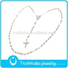 Mulheres religiosas européias Lastest Design dois colar de tom com crucifixo de prata de ouro rosário colar