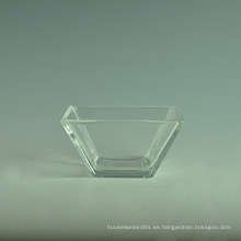 Cuenco de ensalada de cristal transparente de alta cuadrado blanco con cuchara