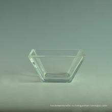 Прозрачный высокий Белый квадратных стеклянных салатников наборы с ложкой