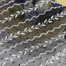 CIrcle Leaves Dot Design Embroidery On Chiffon Fabric