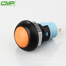 CMP ball domed 12mm colored plastic latching push button switch