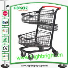 Carrito de compras de supermercado de dos niveles aprobado por CE & ISO para la venta