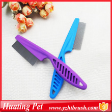 Cheap for Pet Lice Comb purple handle stainless steel pet comb supply to Kyrgyzstan Supplier