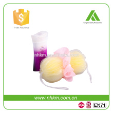 Kangmei flower shaped bath sponge with rope/bath net sponge ball/mesh bath sponge