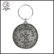 Antique silver engraved logo keychains