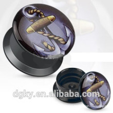 Anchor Acrylic screw ear gauge black tunnels plugs