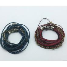 Cuir véritable 5 rouleaux de perles de verre tissu Bracelet (XBL13559)