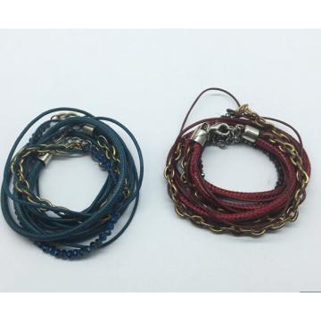 Couro real 5 rolos de contas de vidro pulseira de tecido (xbl13559)