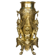 Religious Luxury Golden Bronze Vase Statue
