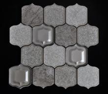 Copo de porcelana de fundo cinza da telha misturada Mosaic