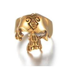 Fashion unisex hollow gold skull ring