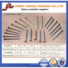 Fastener-008 1-6 Polegada Comprimento Comum Nails / Wire Nails