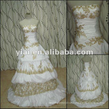 JJ2743 Neueste Kleid Designs Perlen Gold Spitze Taft Strapless Brautkleid Für Frauen