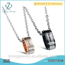 Valentine's Day gift Stainless steel jewelry silver and black color small love necklace