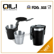4pcs cup in leather case,30ml stainless steel cup set