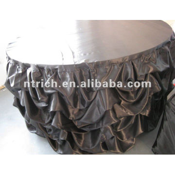 Charming satin wedding ruffled table cloth,table cover,table linen