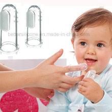 Weiche transparente Silikon Finger Zahnbürste für Baby
