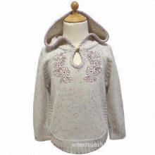 Girls' sweater, 3gg, made of cotton acrylic heathered with hoody and embroidery