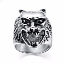 Chegada nova de aço inoxidável para homens anéis de lobo gravado personalizado