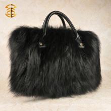 Luxus-Pelz-Handtaschen-Schwarz-Fox-Pelz-Einkaufstasche Frauen-Pelz-Beutel