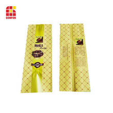 Embalaje de café con bolsa de refuerzo lateral impresa personalizada