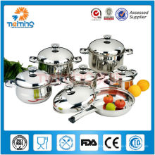 12 pcs italy cookware, thermometer Stainless steel cookware set , disposable soup pots