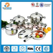 Cookware de 12 PCes de Italia, jogo de aço inoxidável do cookware do termômetro, potenciômetros descartáveis da sopa
